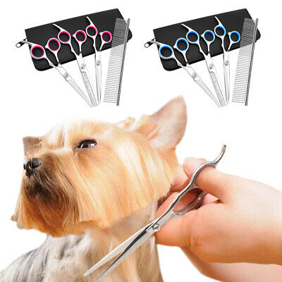 Professional Pet Dog Scissors Grooming Straight Curved Shears Comb Thining Kit