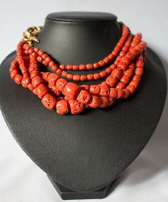 Old Real Antique Natural Red Coral beads 18k GOLD Collection 206 gr Piece RARE!