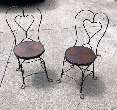 Set of 2 Vintage Ice Cream Parlor Chairs Twisted Heart Back Worn Shabby Chic