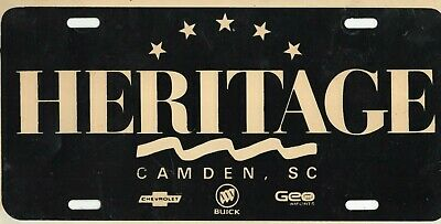 Heritage Chevrolet Buick Dealership License Plate Car Tag Camden South Carolina