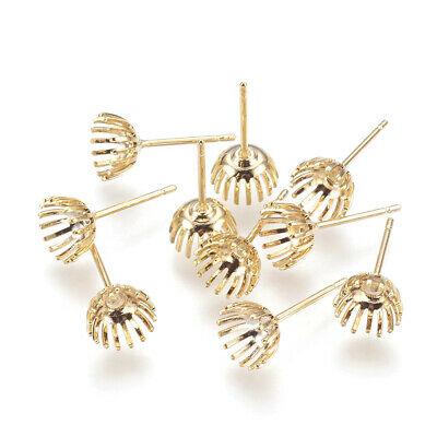 10PCS Brass Stud Earring Findings Jewelry Earring Making Real Gold Plated 7mm