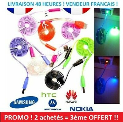 android Cable chargeur LED Lumineux Micro USB Samsung Galaxy S A UNIVERSEL !!