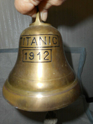 """LARGE BRASS BELL MARKED 1912 TITANIC Vintage Bell 6"""" x 6"""", origin India"""