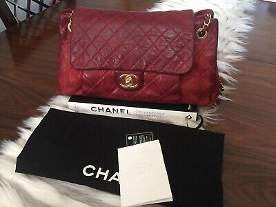 454ddca14d9517 Red Classic Chanel Chic Quilt Accordion Flap Bag Quilted Iridescent Calfskin