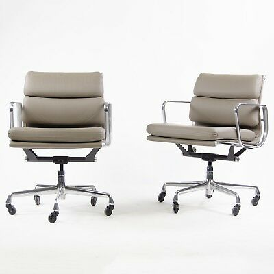 Eames Herman Miller Soft Pad Aluminum Group Chair Gray Leather 2007/6 6x Avail