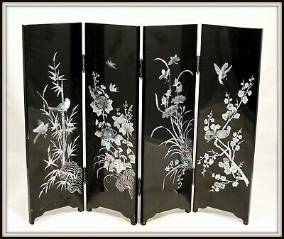 """Handmade Japanese  Lacquer Screen with Mother of Pearl Inlay"" (15"" H x 19.5"" W)"