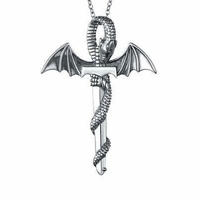 S925 Sterling Silver Punk Oxidized Vintage Dragon Wing Sword Pendant Necklace fo