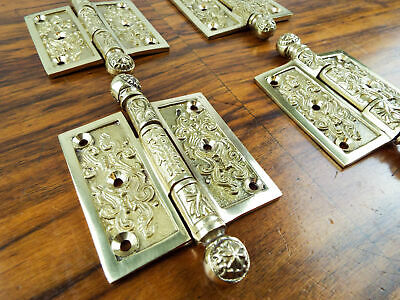 "Set 4 Vintage Solid Brass Door 3"" Hinges Heavy Duty Decorative Antique Hardware"