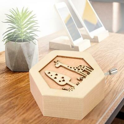 Wooden Music Box Animal Pattern Hand Crank Engraved Toy Hexagonal Side Music Box