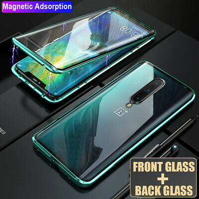 360° Magnetic Adsorption Front Rear Tempered Glass Case Cover for One Plus 7 Pro