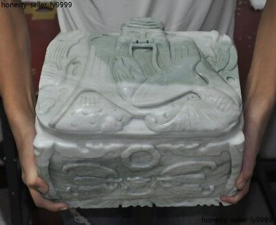 "12""china White marble hand-carved Longevity god statue Cinerary casket box boxes"