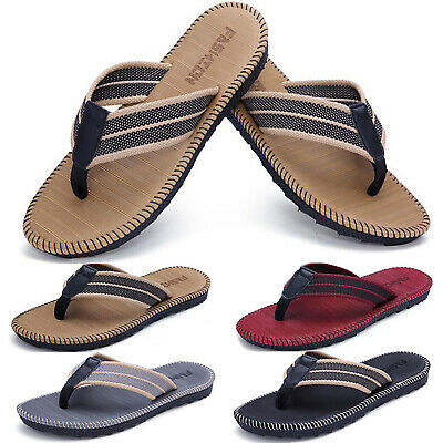 Men Boys Classic Black Flip Flops Summer Casual Beach Holiday Leisure Shoes Size