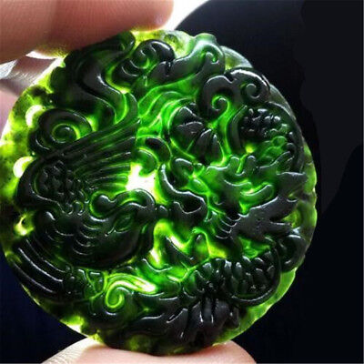 Chinese Natural Black Green Jade Pendant Dragon & Phoenix Good Lucky Amulet Gift