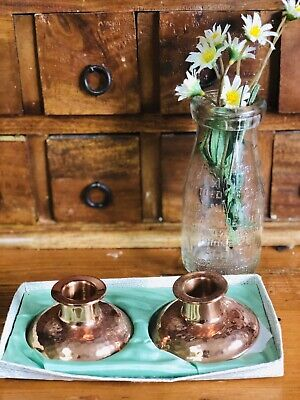 VINTAGE RETRO SET OF RODD HAMMERED COPPER WARE CANDLESTICK HOLDERS As New