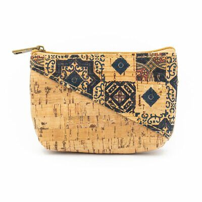Cork Coin Purse with Flower Mosaic Leaves Patterned Bags Handmade Eco BAG 277 J