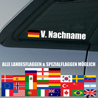1x Autoaufkleber NAME + FLAGGE Motorsport Rally DTM Racing VLN Wunschname Land