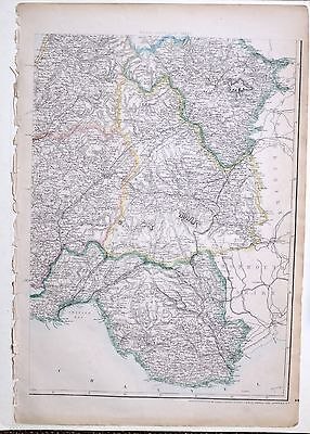 1864 Large Antique Map ~ Wales South East Radnorshire Cardiganshire Hay Swansea