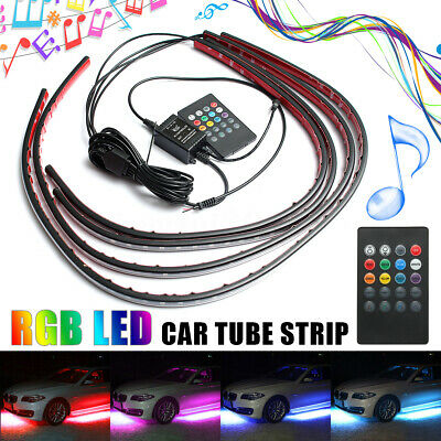 4x RGB LED Auto Atmosphäre Neon Strip Lampe Unterboden Fußraumbeleuchtung Kit