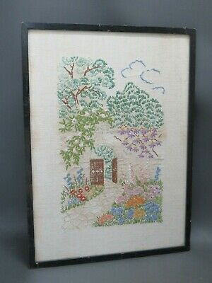 "Vintage embroidered picture of garden in black wooden frame 14"" x 10 1/4"""