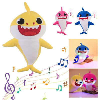 3 Pack Baby Shark Plush Toy Singing and LED Light for Children's Birthday gift