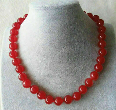 """Genuine 12mm Natural Red Jade Round Gemstone Beads Necklace 18"""" AAA"""