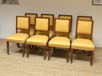 Spectacular Set of 8 Victorian Solid Oak Antique Dining Chairs