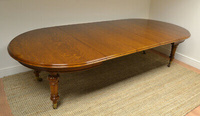 Spectacular Large Victorian Warm Oak Antique Wind-Out Extending Dining Table