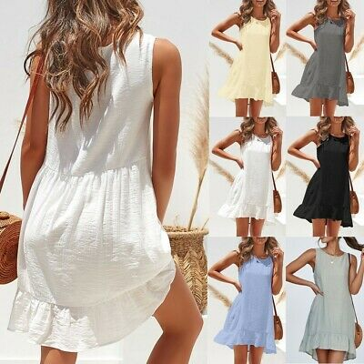 Womens Ruffle Frill Strappy Summer Holiday Party Bodycon Beach Short Mini Dress