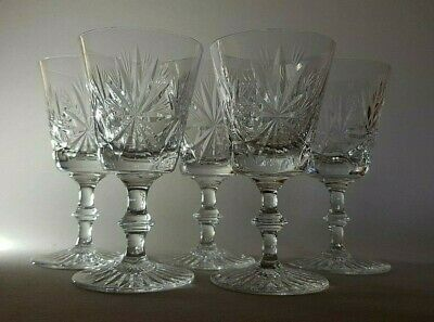 "5 Star Of Edinburgh Crystal Glasses - Claret Wine Goblets 5"" Signed Old Mark"