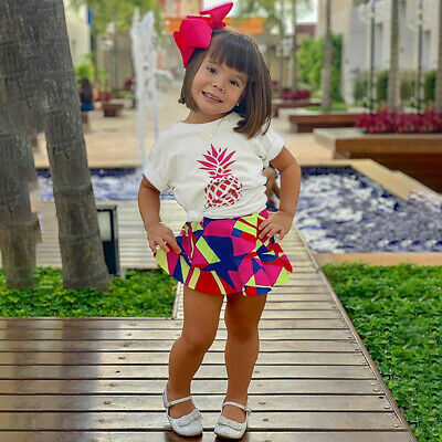 6-24 M Baby Girls Short Sleeve Pineapple Print Tops T-shirt+Skirts Outfits Sets