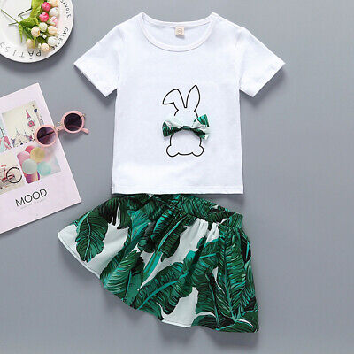 2-3 Years Baby Kids Girls Cute Rabbit Bunny Bow Tops Leaf Print Skirt Set 2Pcs