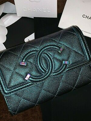 4ddc9463532ccd NWT CHANEL IRIDESCENT Turquoise Wallet Rainbow Filigree 18B RARE ...