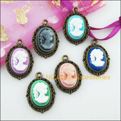 6Pcs Antiqued Bronze Tone Oval Beauty Mixed Resin Charms Pendants 16.5x23mm