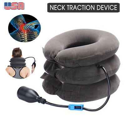 USA Neck Massager Brace Support Cervical Air Traction Therapy Device Pain Relief
