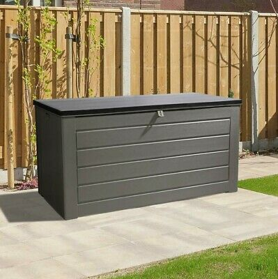XL 680L Outdoor Garden Plastic Storage Utility Chest Cushion Shed Box Waterproof