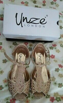 Unze By London Girl's Gold Shoes Size UK 12 Kids EUR 31 US 13