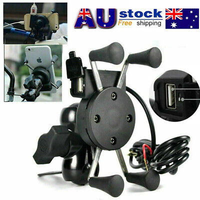 AU X-Grip RAM Motorcycle Bike Car Mount Cellphone Holder USB Charger For Phone
