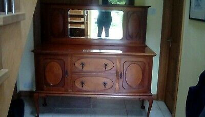 solid mahogany sideboard antique. queen anne legs, cupboards, drawers mirror
