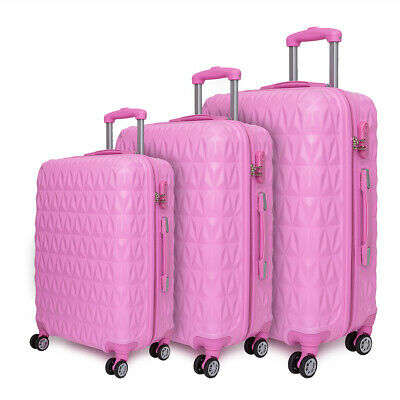 Hard shell Trolley Suitcase 4 Wheel Spinner Lightweight Luggage Travel Case Rose