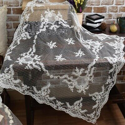 Lovely Flower Golden Thread Embroidery White Gauze Sheer Table Cloth Clearance