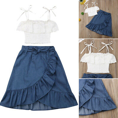 AU Kids Baby Girl Lace Tank Tops+Denim Ruffle Skirt Outfit Set Summer Clothes