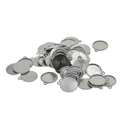 50pcs Fit 18mm Round Cabochon Pendant Base Tray Setting DIY Jewelry Findings