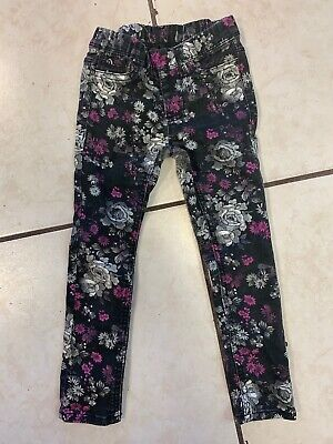 GIRLS Jordache Black Floral Jeggings SIZE XS (4-5) Pre Owned