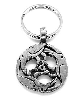 Raven Wicca Necklace of Ravens Pewter Pendant Circle Pagan Trinity