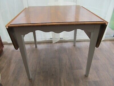 Vintage Country Kitchen Dining Table Drop Leaf Chunky Top Painted Legs Frieze