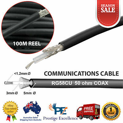 RG58CU 50 Ohm Coaxial Cable 100M Reel Antenna Communication Extension Coax Black