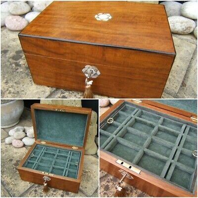Superb 19C Figured Walnut Antique Inlaid Jewellery Box - Fab Interior
