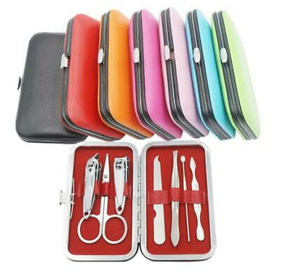 Pedicure Manicure Set Nail Clippers Cleaner Cuticle Grooming Kit Case 7Pcs/Set