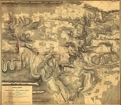 Map of Battle fields of Fishers Hill Virginia c1864 27x24