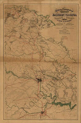 Military topographical map of eastern Virginia c1864 24x36